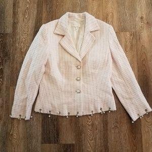 ESCADA Gorgeous Tweed Blazer Pink White Silver